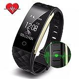 WOTUMEO Fitness Tracker Herzfrequenz Messgerät Aktivitätstracker Smart Armband Wasserdicht Sport Schrittzähler Synchronisierter Anruf SMS Bluetooth Armbanduhr für IOS & Android Smartphones