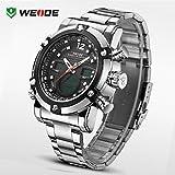 Schöne Uhren, WEIDE Männer Luxus-Sportuhr Doppelzeit-LCD wasserdichte Armbanduhr aus rostfreiem Stahl ( Farbe : Schwarz , Gro