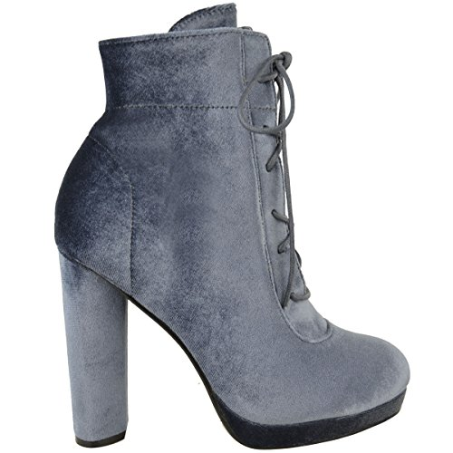 Damen Plateau Blockabsatz Stiefeletten Schnürer Velvet Schuh Größe Grauer Samt