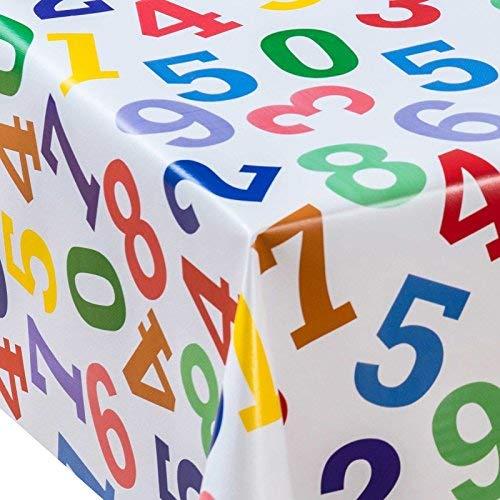 PVC-Tischdecke Zahlen 1m (100cm x 140cm), gelb grün blau lila orange Latte Off Weiß, abwischbar, Vinyl/Kunststoff Tischdecke (Tan Kunststoff Tischdecken)