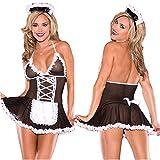 FJZ Sexy Mädchen tragen Cosplay Perspektivennetz Maid Spaß Unterwäsche-Set,S