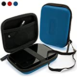 iGadgitz Blue EVA Hard Travel Case Cover for Toshiba Canvio Premium 1TB 2TB 3TB & Premium for Mac 1TB 2TB 3TB, Slim for Mac, Connect, Connect II & Alu 500GB 1TB 2TB 3TB Portable External Hard Drives