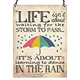 Dorothy Spring Life Isn't About Waiting for the Storm To Pass Inspirational Quote Wall Metal Small Plaque Sign Size 4x3 inch