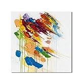 ZSLMX Handgemalt Bunter Charakter Postmodernismus Abstraktes GemäLde Auf Leinwand Helles Licht Rot GrüN Blau Wall Decor Performance Art,60x70cm