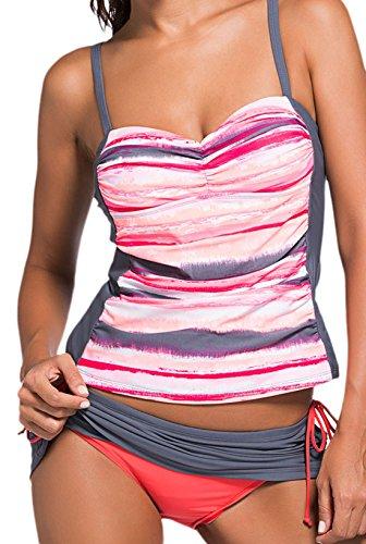 confit you - Damen Bauchweg Tankini, Beach-Bikini Hose zum Rock wandelbar, XS-2XL, Viele Farben Rosa