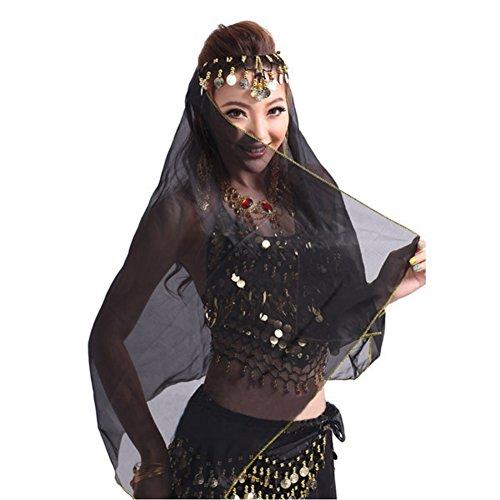 Kostüm 1001 Nacht - Bauchtanz Kostüm Gesichtsschleier Metall Coin Headwear Chiffon Wrap Schal