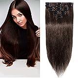Extensiones de Cabellos Naturales Clips Pelo Humano 100% REMY 8 Piezas 18 Clips para el pelo muy...