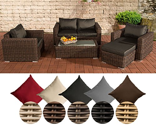 CLP Polyrattan Lounge MADEIRA inkl. Polsterauflagen | Gartenmöbel-Set: ein 2er-Sofa, zwei Sessel, ein Loungetisch und ein Hocker | In verschiedenen Farben erhältlich Bezugfarbe: Terrabraun, Rattan Farbe natura