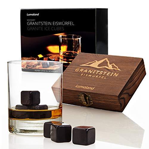Lumaland Whiskysteine aus Granit 9er Set Inklusive Holzbox, Aufbewahrungsbeutel und professioneller Zange aus Edelstahl