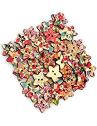 TheWin Flores Impresión 2Agujeros de madera Estrella Botones, print srat, 25x