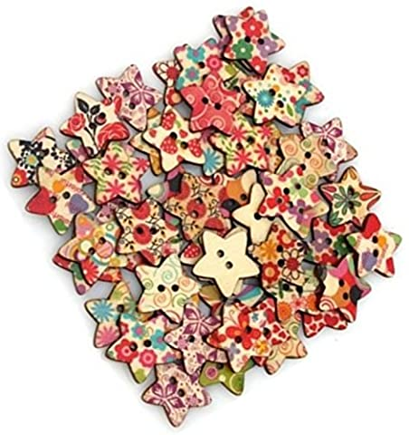 TheWin Pack of 50 Flower Print 2 Holes Wooden Star