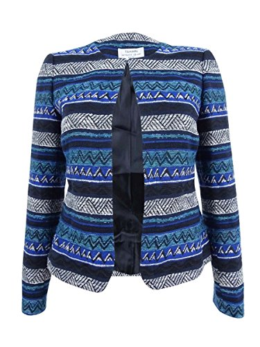 Tahari Womens Blue Textured Striped Suit Wear to Work Jacket Size: 8