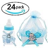 Caja de regalo para botella de dulces y organza para bebé, dulces, cesta de regalo, suministros para fiestas de bebé, cumpleaños (azul)