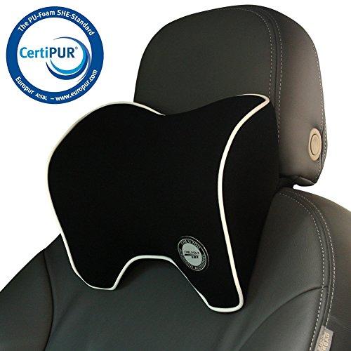 Auto Kissen, Nackenstütze  Nackenkissen für Autositz Kopfstütze mit Memory Schaum für Fahren - Schwarz