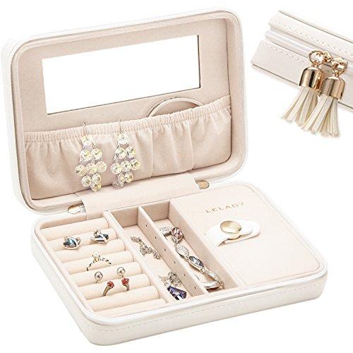 Scatola per gioielli da viaggio scatola per gioielli piccola scatola per gioielli portatile custodia per anelli orecchini bracciali piccoli orologi e collane regali per donne, misura media, bianco