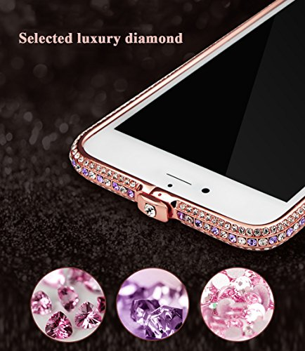 Luxury Strass Métal Bumper Cadre Coque pour iPhone 6 Plus Etui,Vandot Housse pour iPhone 6S Plus Case avec Bling Briller Cristal Diamant Frame Frontière Case iPhone 6 Plus / 6S Plus 5.5 Pouces Cover [ Or-Rose Diamant