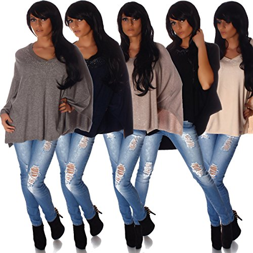 Fashion4Young - Poncho - Taille empire - Femme bleu foncé