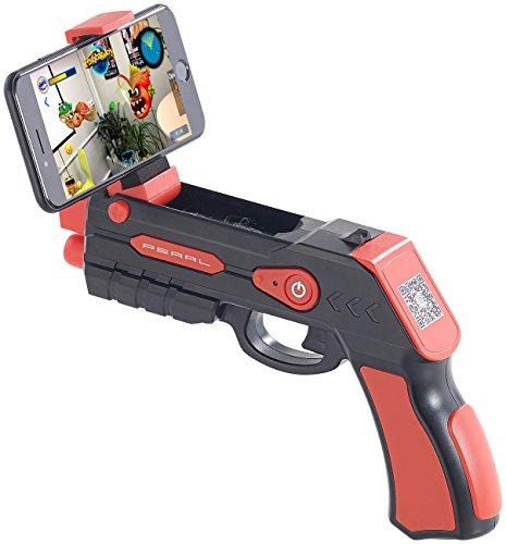 Callstel AR Gun: Augmented-Reality AR-Pistole, Bluetooth, für Smartphones bis 5,5 Zoll (Handy Pistole) (Nexus Stromversorgung)