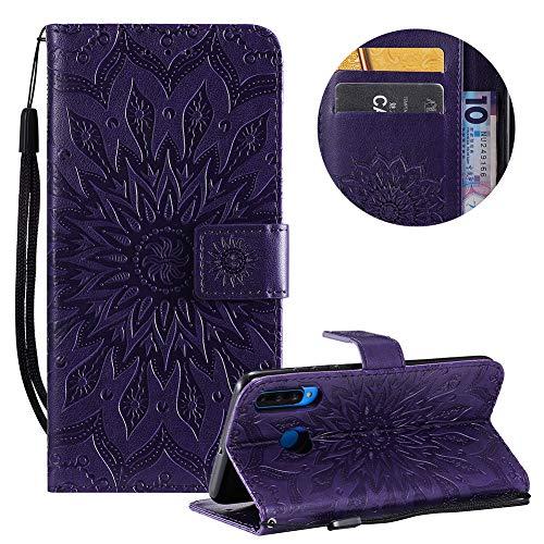 Gurt Brieftasche für Huawei P30 Lite,Lila Handyhülle für Huawei P30 Lite,Moiky Ziemlich Schöne Mandala Sonnenblume Geprägt Klappbar Kartenfächer Stoßdämpfende Ledertasche mit Stand