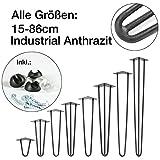 4x Natural Goods Berlin Hairpin Leg Tischbeine |12mm Stahl |Industrial Anthrazit | alle Größen | 71cm/3Stangen