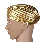 Bonnet Cassquette Femme Homme Chapeau Turban élastique Yoga Cap Doré