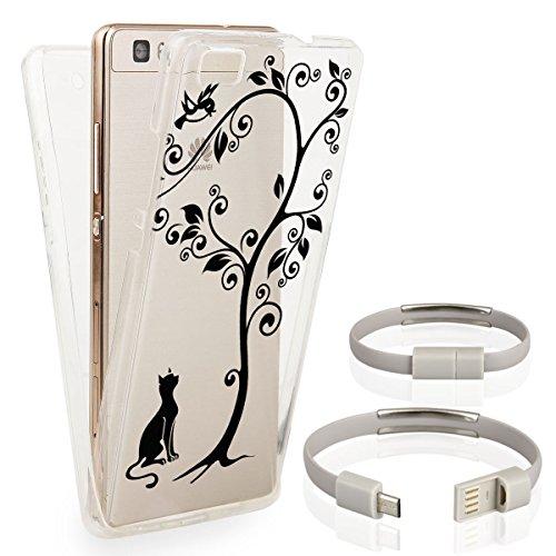 Ego® Double Touch Case komplette TPU custodia in silicone per 360° gradi anteriore posteriore beidseitiger Full protettiva trasparente Front Back Double Face bianco motivo 1 Etui für iPhone 7 Plus Motiv 3 + GRATIS