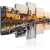 murando - Bilder Dresden 200x100 cm - Vlies Leinwandbild - 5 TLG - Kunstdruck - modern - Wandbilder XXL - Wanddekoration - Design - Wand Bild - Stadt d-B-0162-b-m