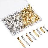 100 Piezas de Imperdibles de Broche Alfileres de Pasadores de Seguridad con Caja de Plástico, 4 Tamaños 20 mm, 25 mm, 32 mm y 38 mm (Dorado y Plateado)