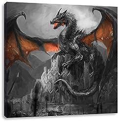 Drache schützend über Burg Schwarz/Weiß, Format: 60x60 auf Leinwand, XXL riesige Bilder fertig gerahmt mit Keilrahmen, Kunstdruck auf Wandbild mit Rahmen, günstiger als Gemälde oder Ölbild, kein Poster oder Plakat