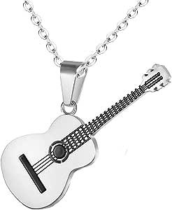 AILUOR - Collana con plettro per chitarra da uomo e donna, con catena regolabile, stile hip hop, in acciaio al titanio
