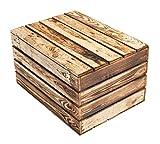 Neue Holztruhe geflammt *Mittel* - flambierte/flammbiert Holzkiste Kiste mit Deckel Wäschetruhe Truhe Spielzeugkiste Spielzeugbox Spielkiste Schatzkiste 58x43,5x34cm