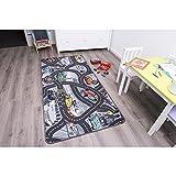 Kinderteppich DISNEY CARS - 160cm x 200cm, Schadstoffgeprüft, Anti-Schmutz-Schicht, Auto-Spielteppich für Jungen & Mädchen, Verkehrsteppich Fußbodenheizung geeignet