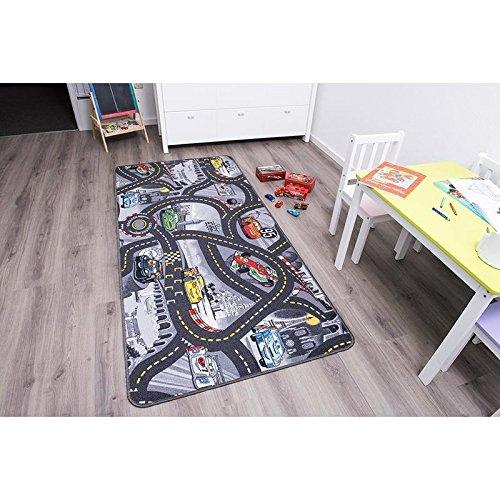 Kinderteppich DISNEY CARS - 200cm x 300cm, Schadstoffgeprüft, Anti-Schmutz-Schicht, Auto-Spielteppich für Jungen & Mädchen, Verkehrsteppich Fußbodenheizung geeignet