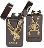 Electric Cigarette Lighter 2 Pack - USB Rechargeable Arc Tesla Plasma Lighters - 5 Designs (Scorpion + Eagle)