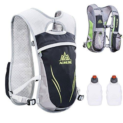 Triwonder Hydration Pack Backpack 5,5 L Outdoor Mochilas Trail Marathoner Gara da corsa Gara da idratazione (Grigio - con 2 bottiglie d'acqua)