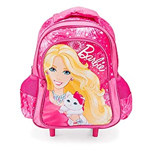 Pink Barbie Blissa Trolley Bag Kids Small Holdall Luggage Girls Wheeled Backpack by Barbie