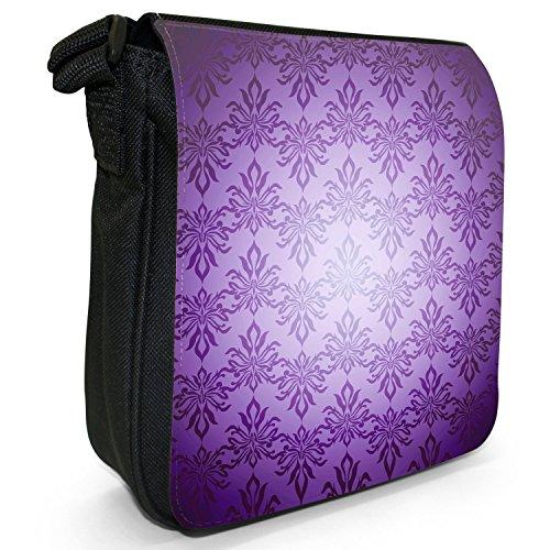 Elegante, Carta da parati, colore: nero, Borsa a tracolla in tela, taglia: S Purple Colour Pattern