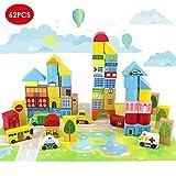 Onshine 62 pièces Blocs de Construction en Bois Jeu De Construction Jouets Puzzle...