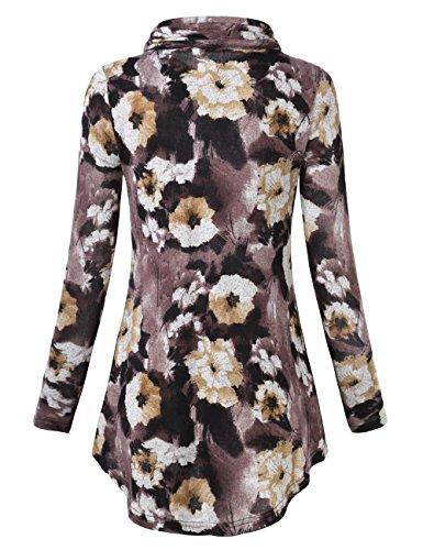 Slivexy Damen Turtleneck Langarm Asymmetrische Saum Tunika Tops mit Taschen Braun-Blumen