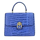 Da Milano LB-4187 Blue Leather Handbag
