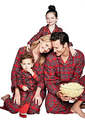 Navidad Familia Coincidencia Conjunto de Pijama Padres e Hijos Navidad Ropa Poliéster Rojos Cuadros Impresión Manga Larga Camiseta Mamá Papá y Son Hija Pijama Familiar Ropa para Dormir Otoño Invierno