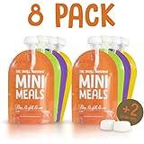 Reutilizable Bolsa de alimentos (8unidades) + libre diseño de libro de recetas–sin BPA no de fugas de Squeeze de bolsillo–& Clean–Ideal para; El destete, fácil de llenar, puré de frutas, Orgánica y casero comida para bebés, niños pequeños y niños