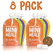 Reusable Food Pouch Kit (8 Pack) + FREE PAPERBACK RECIPE BOOK - BPA Free No Leak Squeeze Bag Design - Easy Fill & Clean - Great Bags For; Weaning, Travel, Pureed Fruit, Organic & Homemade Baby Food, Babies Toddlers & Kids