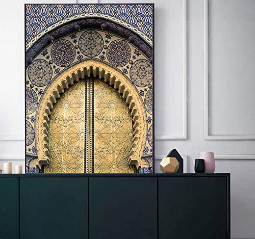 QINGRENJIE Marokkanische Tür Wandkunst Gold Koran Arabische Kalligraphie Leinwand Keuchen Islamische Architektur Poster Druck Wandbilder Boho Dekor 50X70Cm Ohne Rahmen