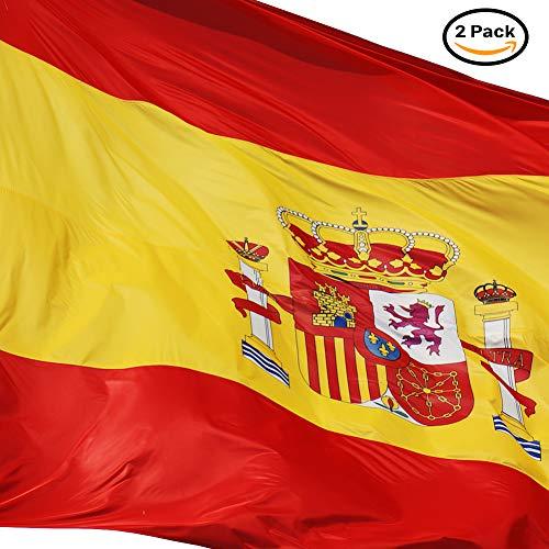 Bandera de España 90 x 150 cm. 2 unidades - Bandera España grande. Loretta - Bandera Resistente a la Intemperie. bandera española 150x90 cm