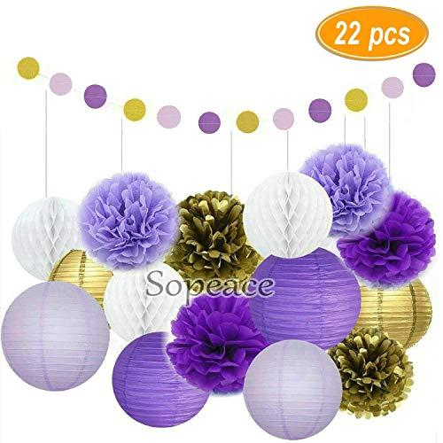 Erosion 22 Stück Gold Seidenpapier Blumen und rosa Pom Poms Laternen für Baby Shower Geburtstag Dekoration, Braut Hochzeit Party Supplier