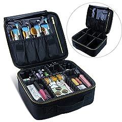Idea Regalo - Samtour di trucco borsa da viaggio, trousse Mlmsy makeup brushes organizer portatile impermeabile grande trousse da toilette borse per donne o uomini