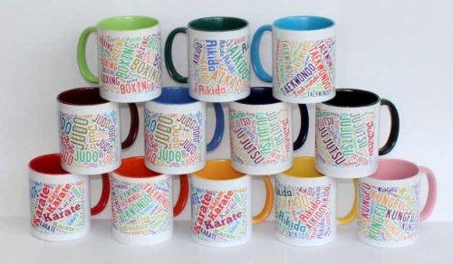 hochwertige Premium Keramik Tasse mit Aikido Text, Henkel und Innenseite sind in Farbe dunkelgrün