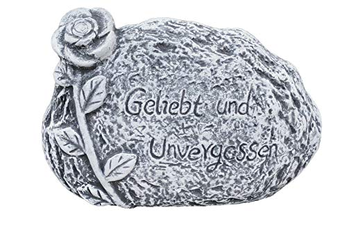 Grabschmuck Grabstein Geliebt und unvergessen frostfest wetterfest Steinguss