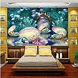 Guyuell Benutzerdefinierte Größe 3D Fototapete Kinder Mädchen Zimmer Wandbild Traum Meeresboden Ölgemälde Sofa Tv Hintergrund Vlies Wandaufkleber-120Cmx100Cm